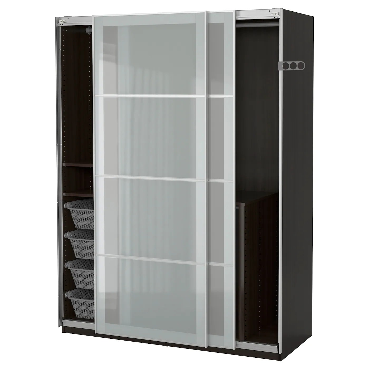Pax Sekken Pax Wardrobe Black Brown Sekken Frosted Glass 150x66x201