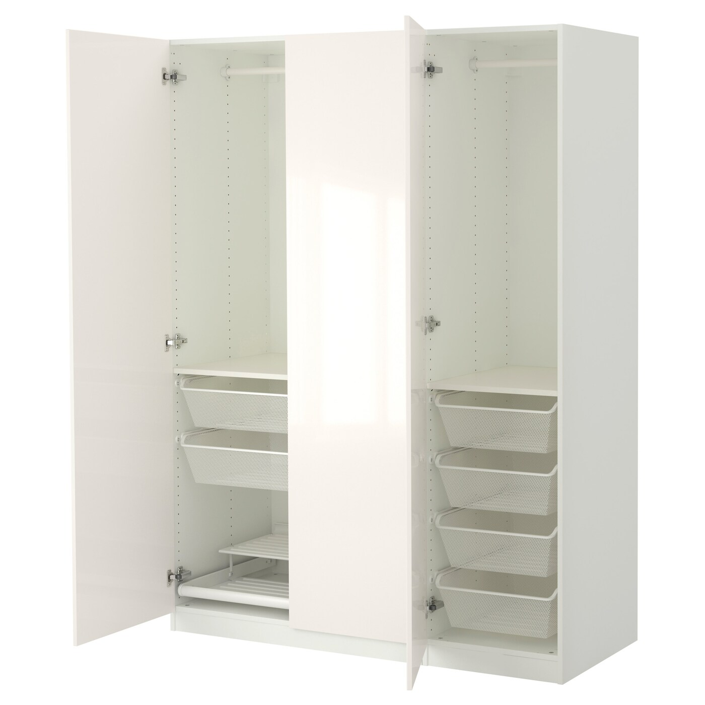 Soldes Ikea Toulouse Pax Wardrobe White Fardal High Gloss White 150 X 60 X 201