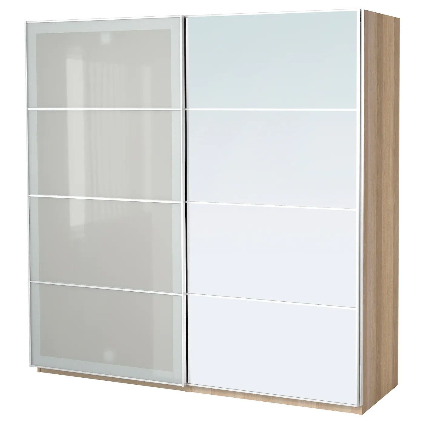 Pax Sekken Pax Wardrobe White Stained Oak Effect Auli Sekken 200 X 66