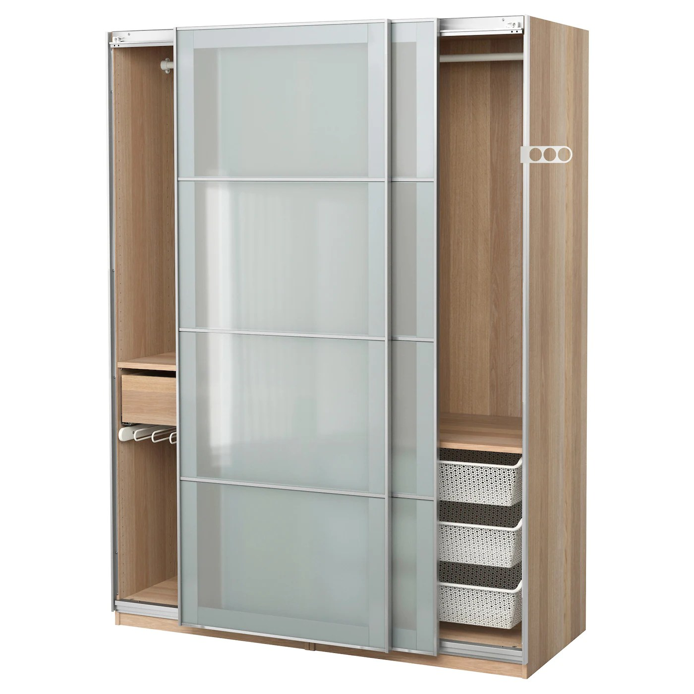 Pax Sekken Pax Wardrobe White Stained Oak Effect Sekken Frosted Glass