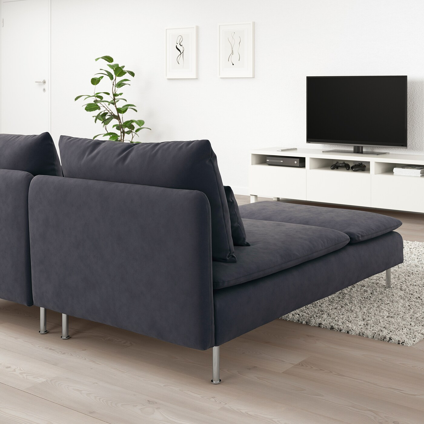 SÖderhamn With Chaise Longue Samsta Dark Grey 2 Seat Sofa Ikea
