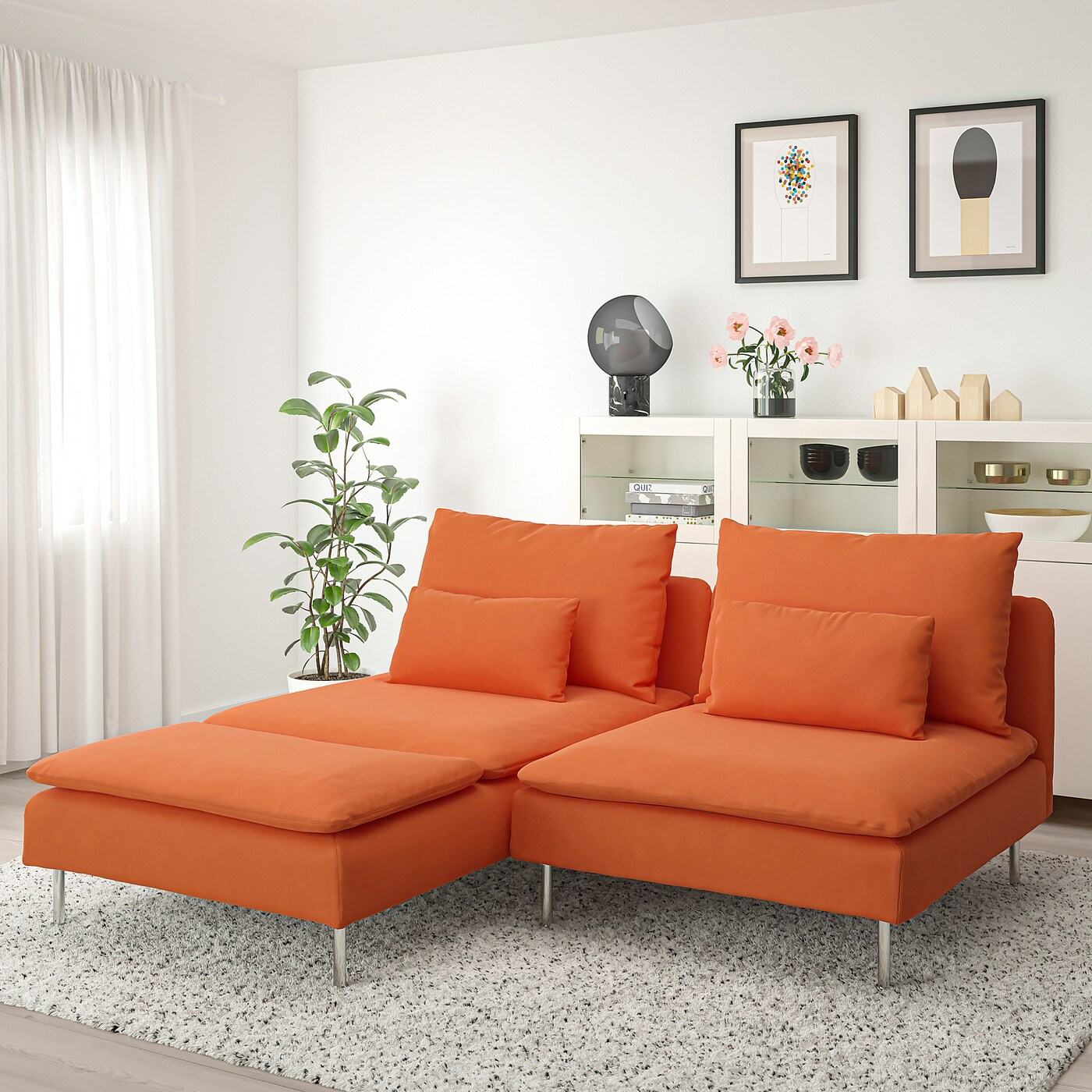 SÖderhamn 2 Seat Sofa With Chaise Longue Samsta Orange Ikea