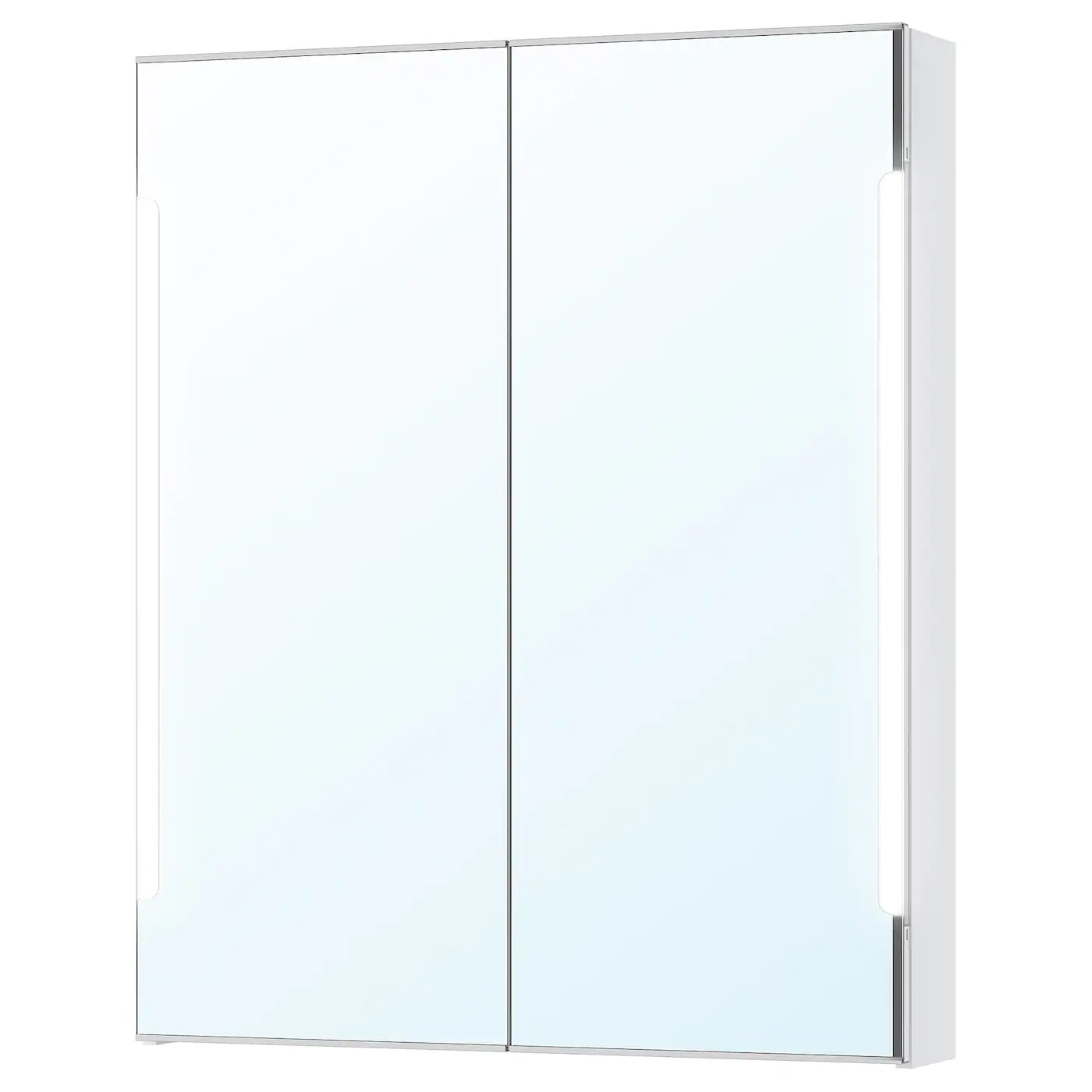 Spiegelschrank Ikea Storjorm White, Mirror Cab 2 Door/built-in Lighting, 80x14x96 Cm - Ikea