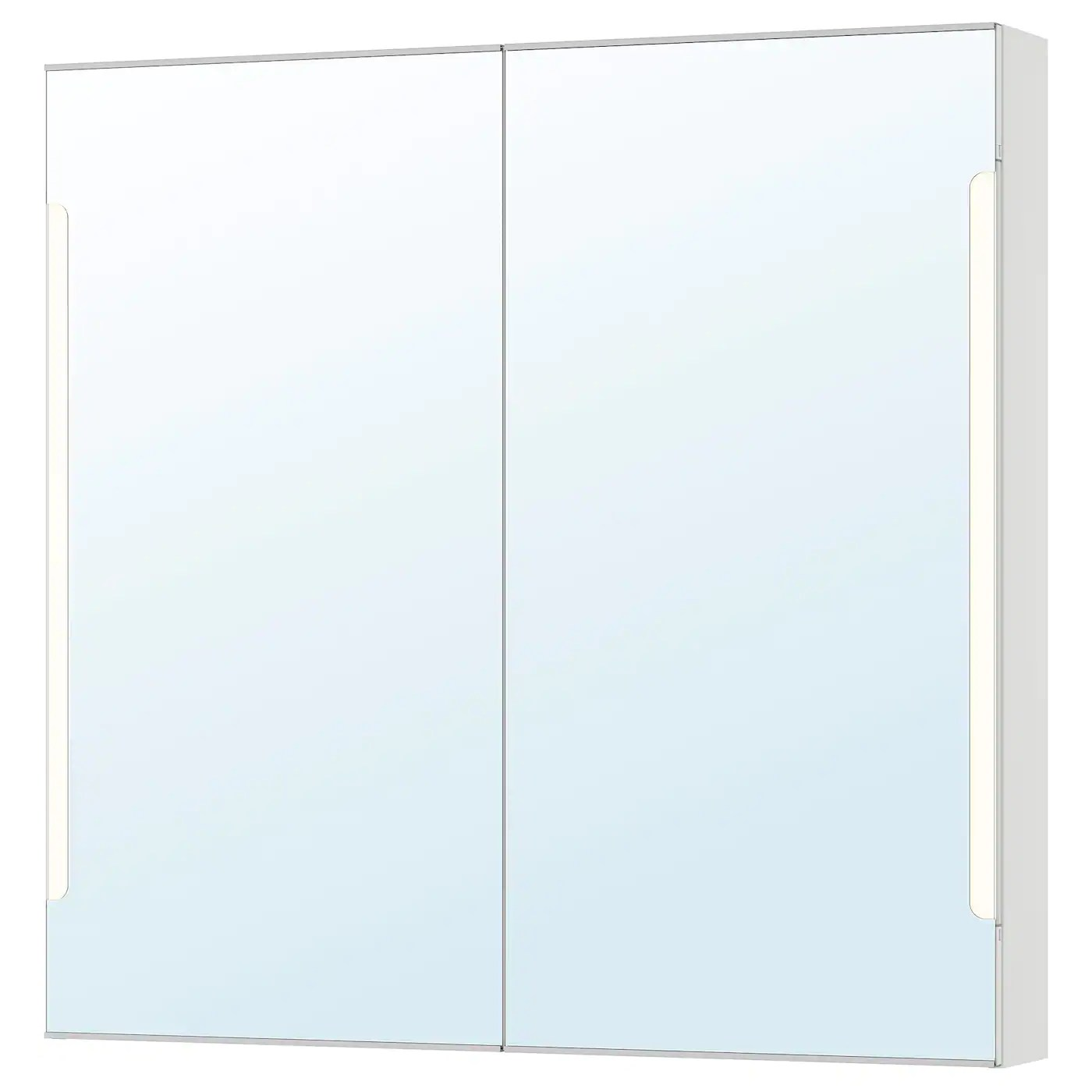 Spiegelschrank Ikea Storjorm White, Mirror Cab 2 Door/built-in Lighting, 100x14x96 Cm - Ikea