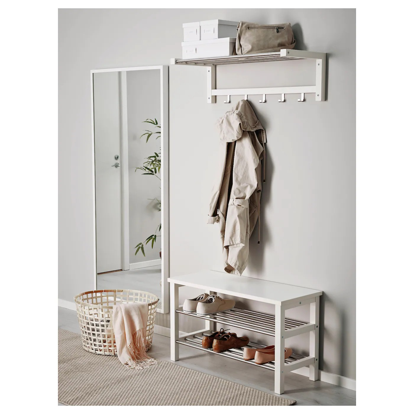 Flurgarderobe Ikea Tjusig Bench With Shoe Storage White 81 X 50 Cm Ikea