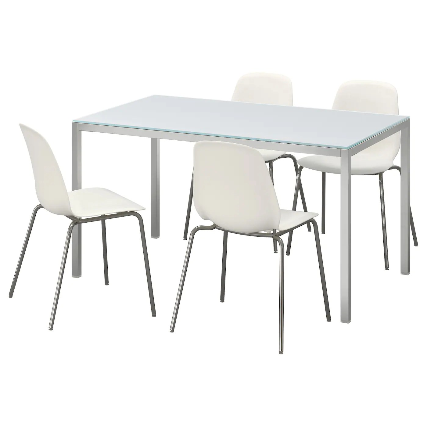Glazen Stoelen Ikea Torsby Leifarne Table And 4 Chairs Glass White White 135