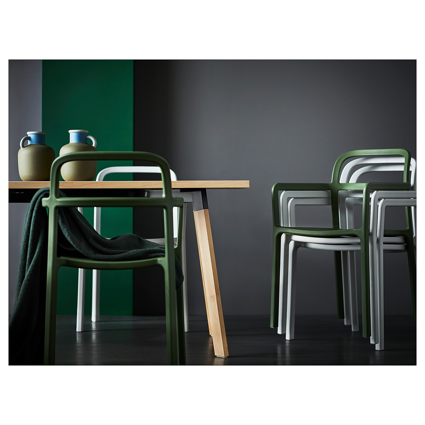 Sedie Ypperlig Ypperlig Chair With Armrests In Outdoor Green