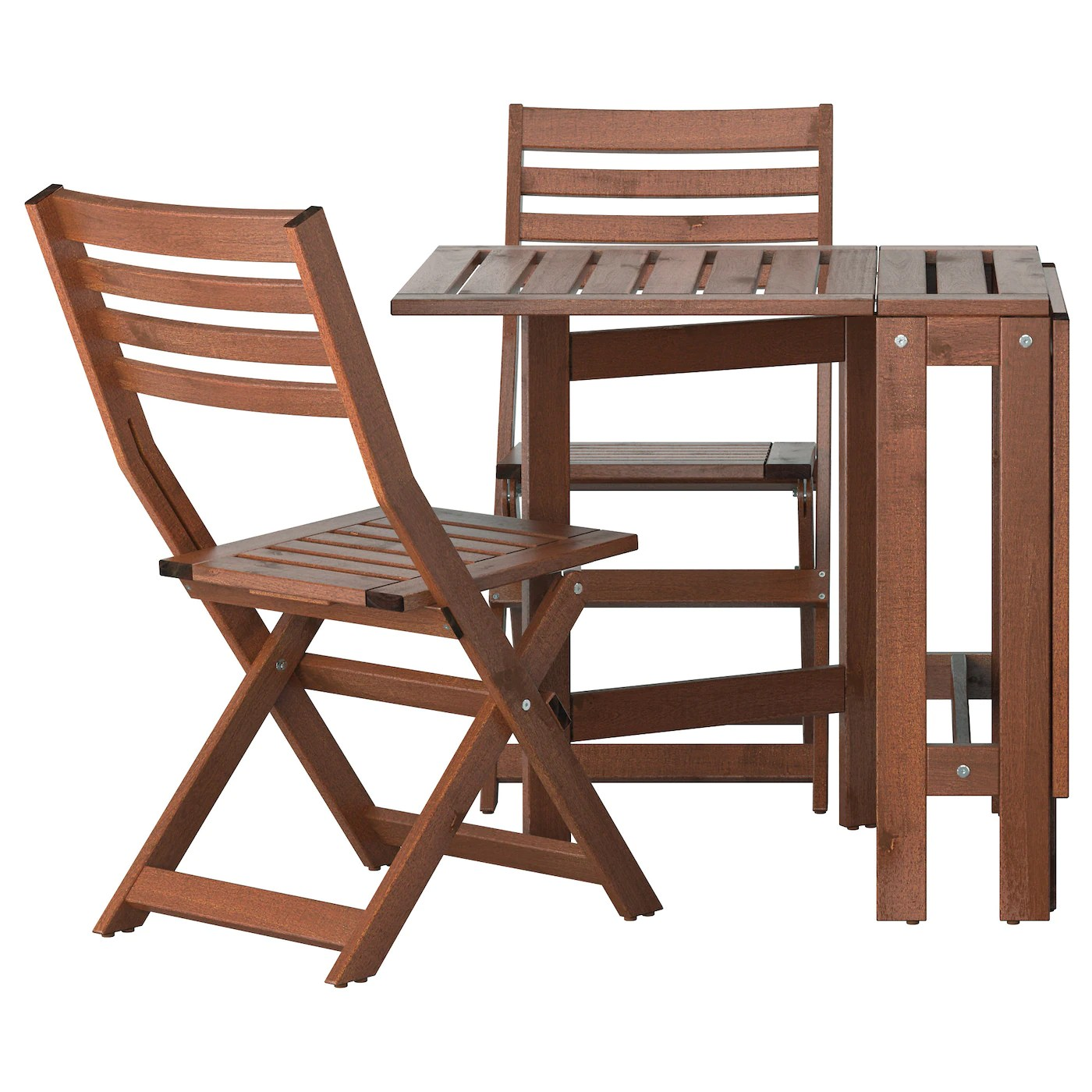 Ikea Outdoor Furniture ÄpplarÖ Table 2 Folding Chairs Outdoor Brown Stained