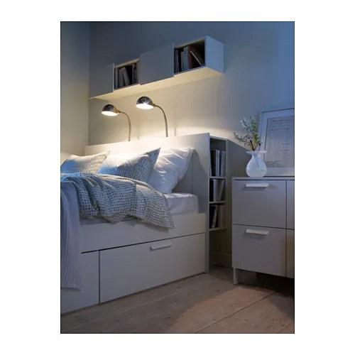 Boxspring Review Brimnes Headboard With Storage Compartment White Standard