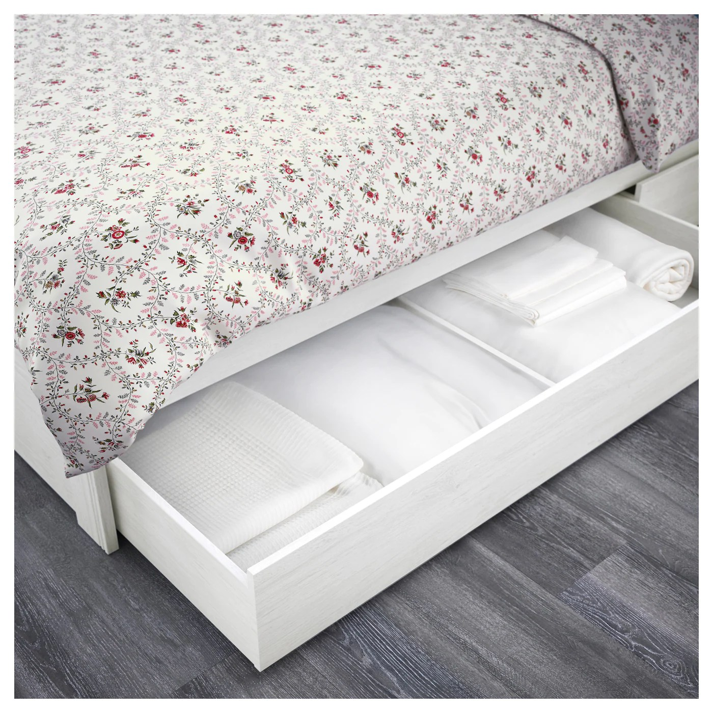 Box Bed Frame Brusali Bed Frame With 2 Storage Boxes White 140x200 Cm Ikea