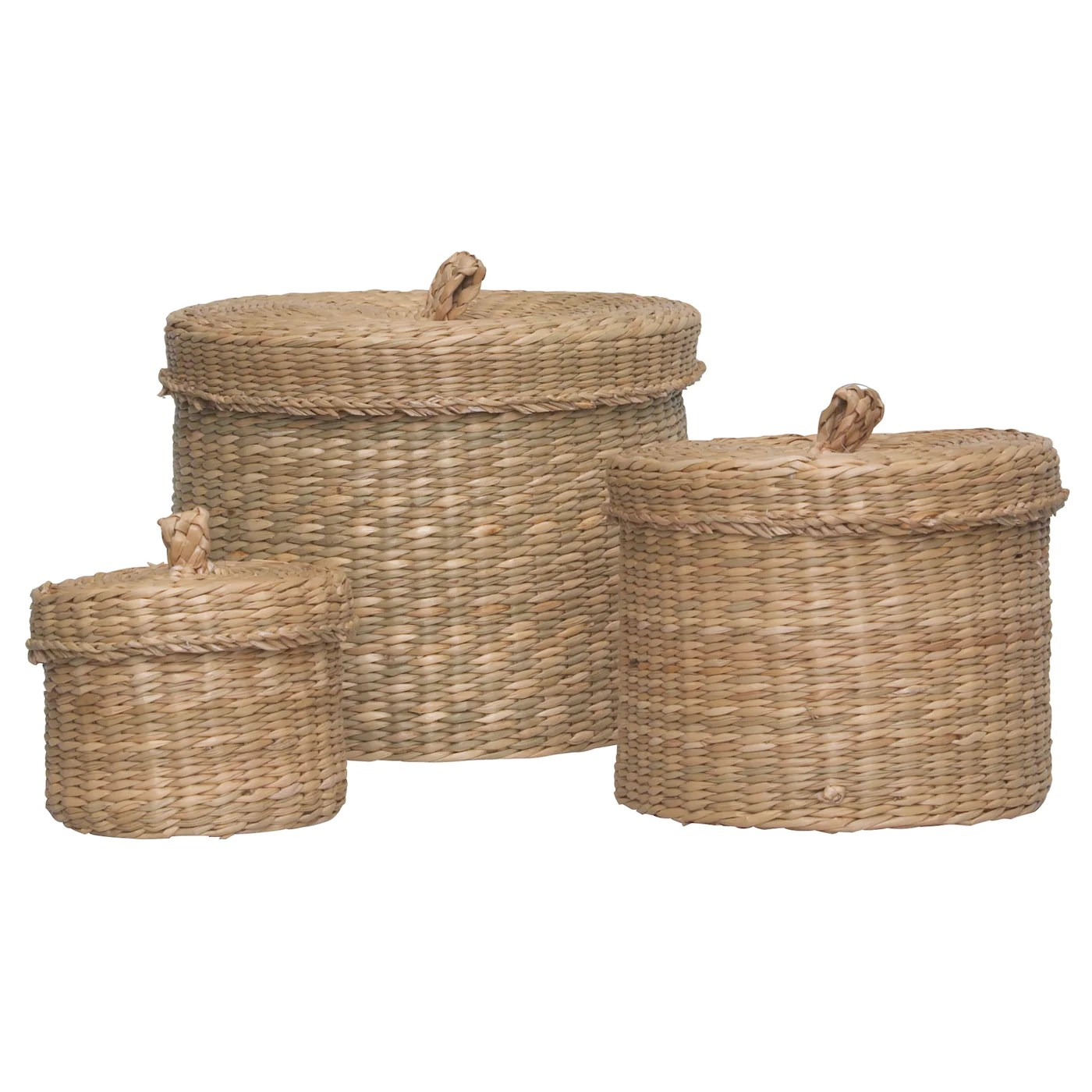 Wasmand Zeegras Ljusnan Box With Lid Set Of 3 Seagrass Ikea