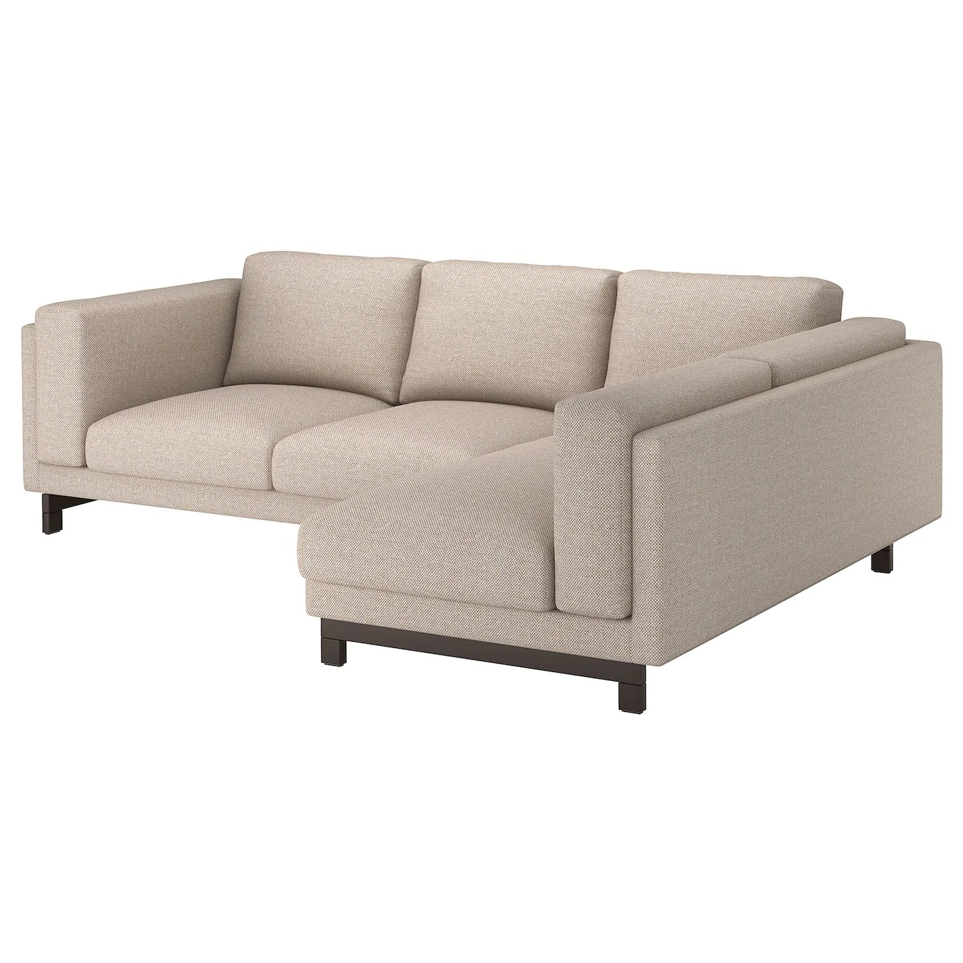 Ikea Bettwäsche Beige Nockeby 3 Seat Sofa With Chaise Longue Right Lejde Dark