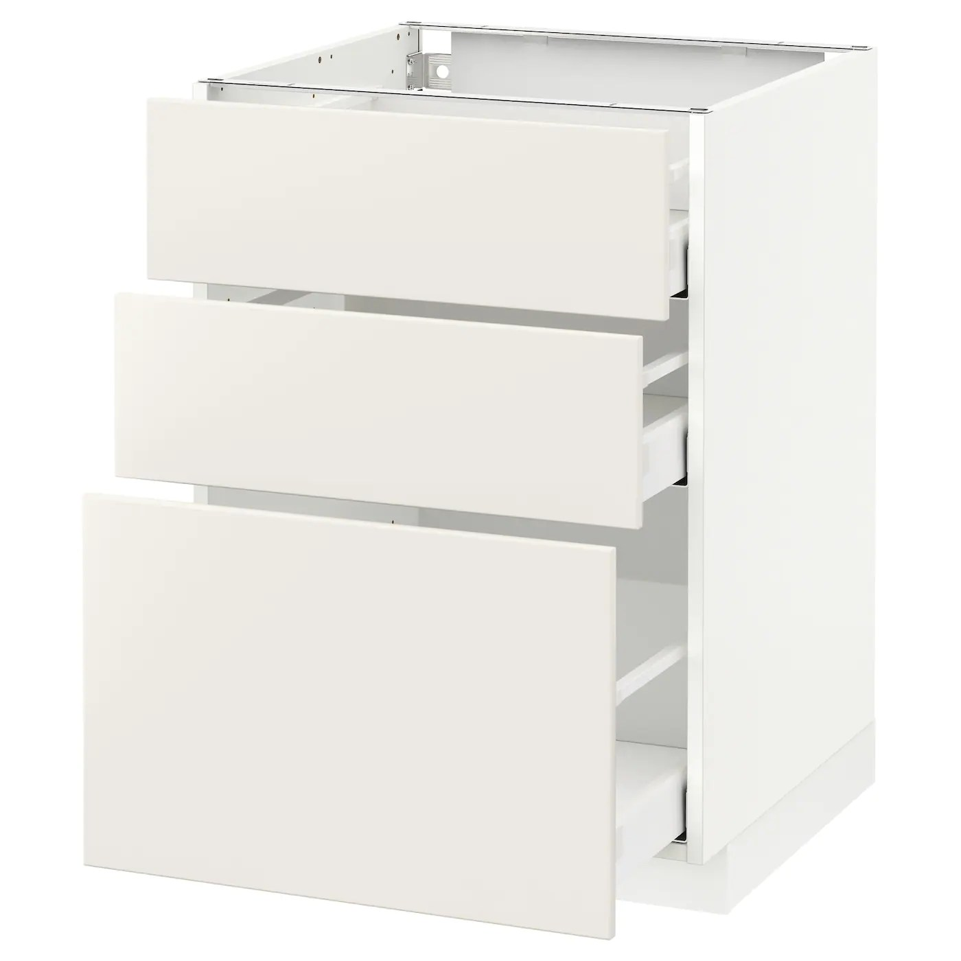Unterschrank Küche Ikea Metod Base Cabinet With 3 Drawers - White Maximera/veddinge White 60x60x80 Cm (24x24x32 \