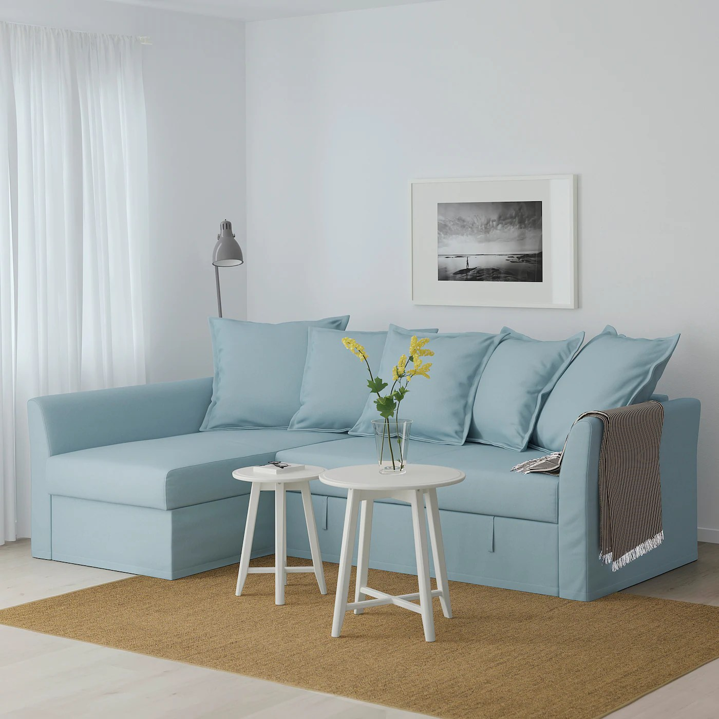 Holmsund Corner Sofa Bed Orrsta Light Blue Ikea