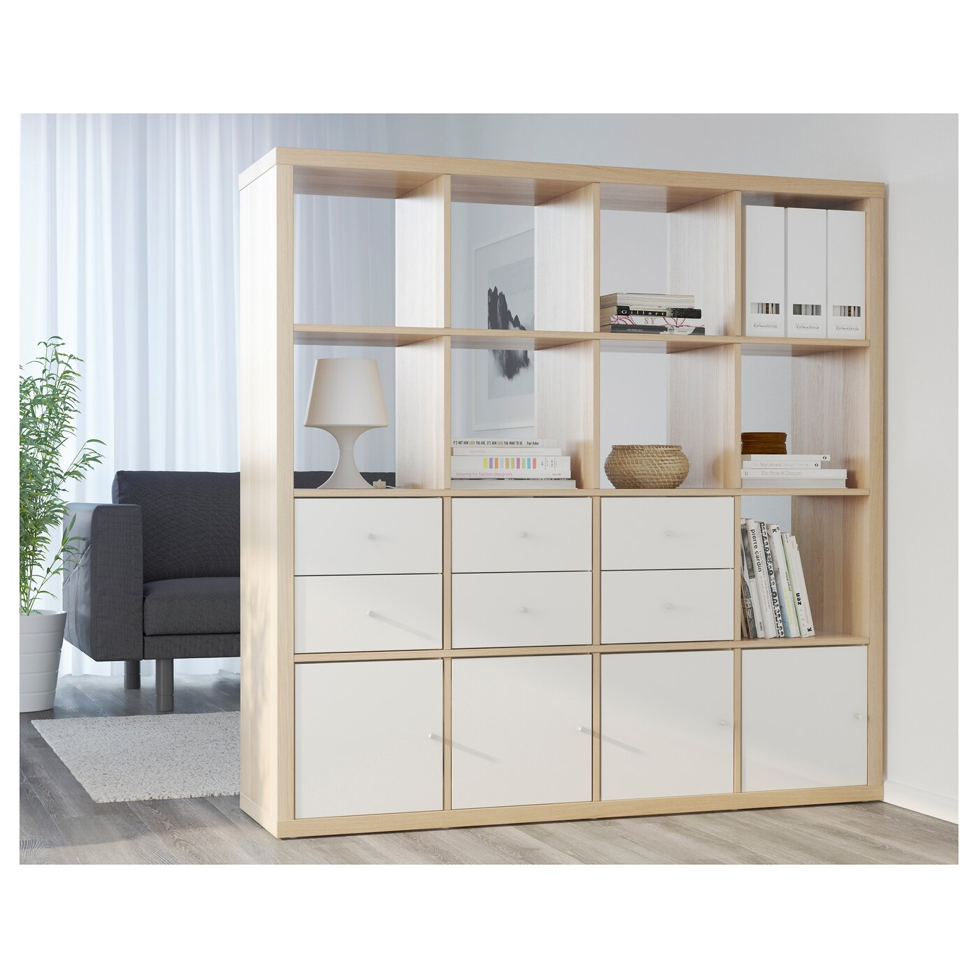 Ikea Kallax Weiß Kallax Shelving Unit White Stained Oak Effect