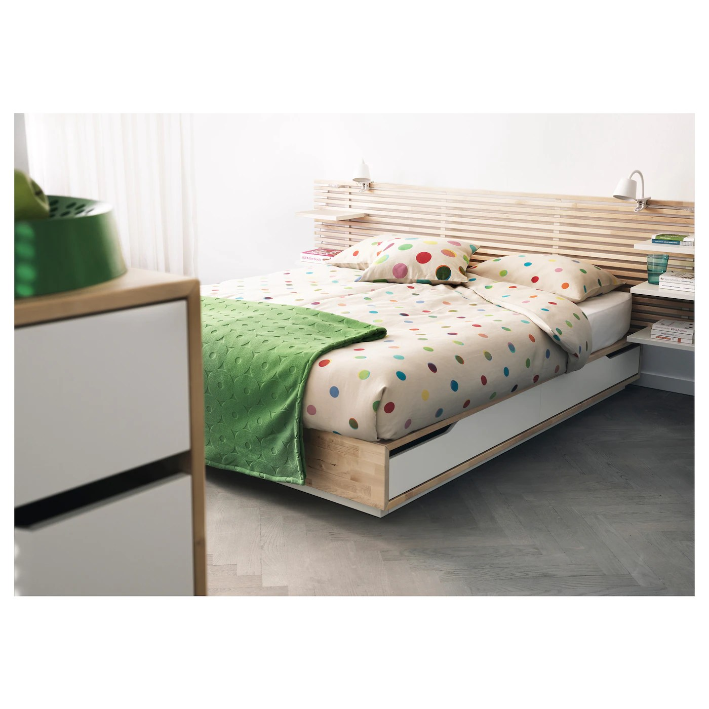 Ikea Boxspring 220 Cm Mandal Bed Frame With Storage Birch White