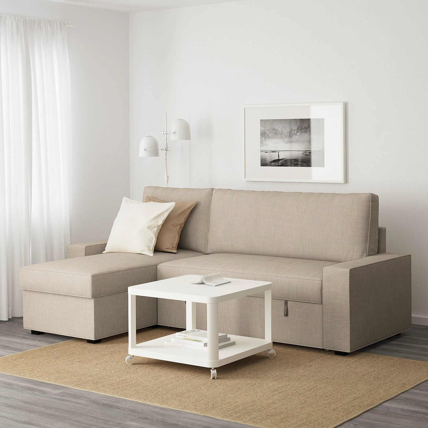 Sofas Und Couches Vilasund Sofa Bed With Chaise Longue, Hillared Beige ...