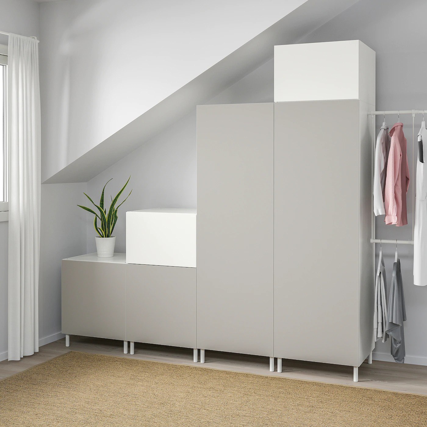 Platsa Wardrobe White Fonnes Skatval Light Grey Ikea