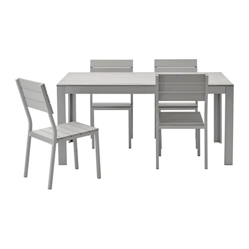 Tisch 90x90 Falster Table And 4 Chairs, Outdoor - Gray - Ikea