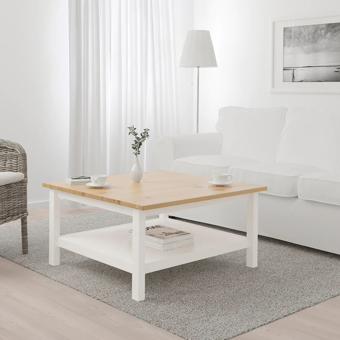 Hemnes Coffee Table White Stain Light Brown 35 3 8x35 3 8