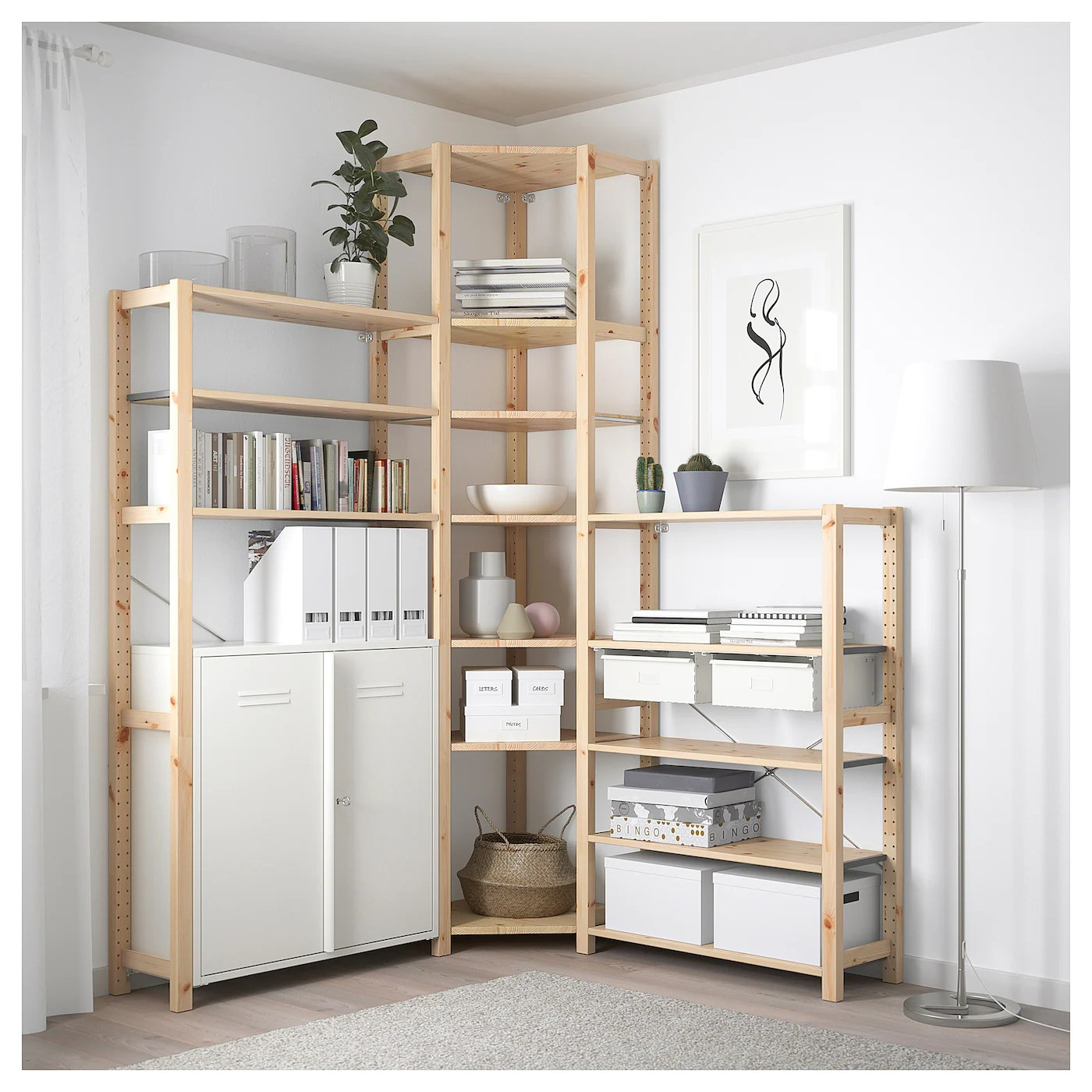 Ikea Expedit Ovet Ivar 3 Sections Corner Pine White