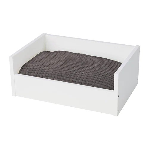 Ikea Chat Lurvig Pet Bed With Pad - White/gray - Ikea