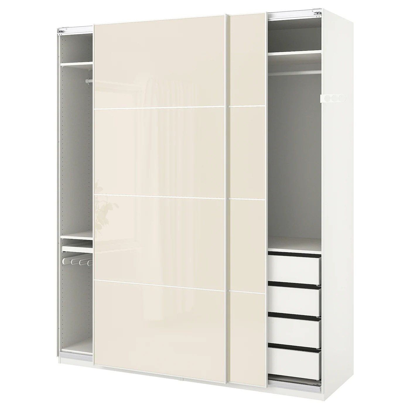 Ikea Schrank 100 X 60 Pax Wardrobe White Hokksund High Gloss Hokksund Light Beige