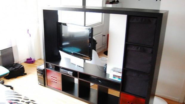 Ikea Expedit Wardrobe Expedit Tv Storage With Rotating Tv - Ikea Hackers - Ikea