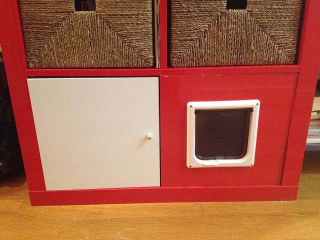 Ikea Media Unit Expedit Shelving Unit + Total Kitty Litter Disguise - Ikea