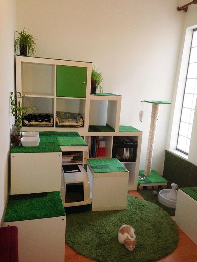 Catwalk Katzen Wand Diy Cat Apartment, Storage And Play Area - Ikea Hackers