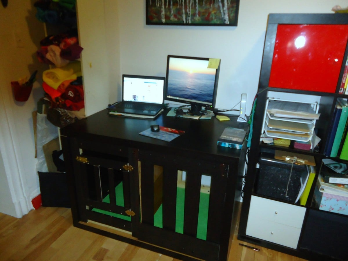 Ikea Laiva Expedit Dog Crate & Multipurpose Desk - Ikea Hackers