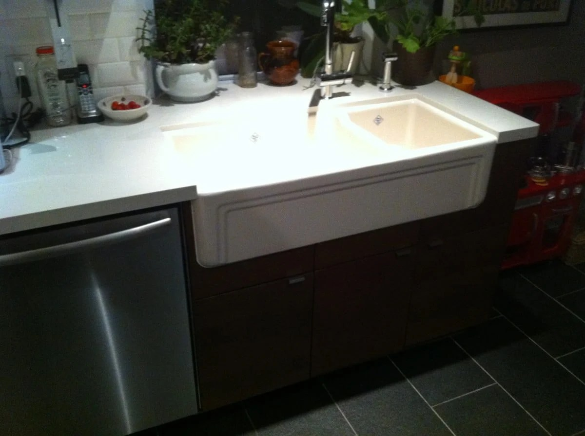 How To Install Ikea Countertops Farmhouse Sink Into Ikea Kitchen Cupboards Ikea Hackers