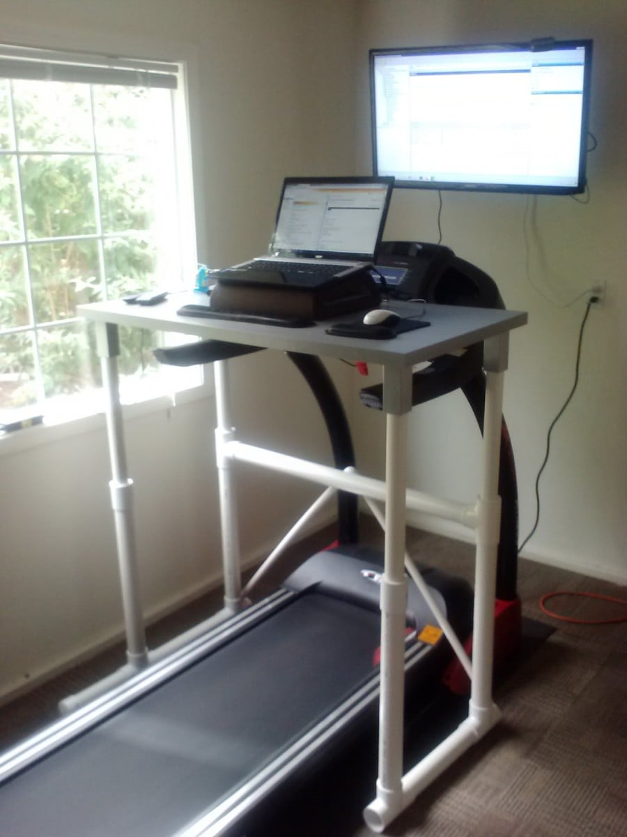 Ikea Laptop Stand Linnmon Treadmill Desk With Pvc Pipe Legs - Ikea Hackers