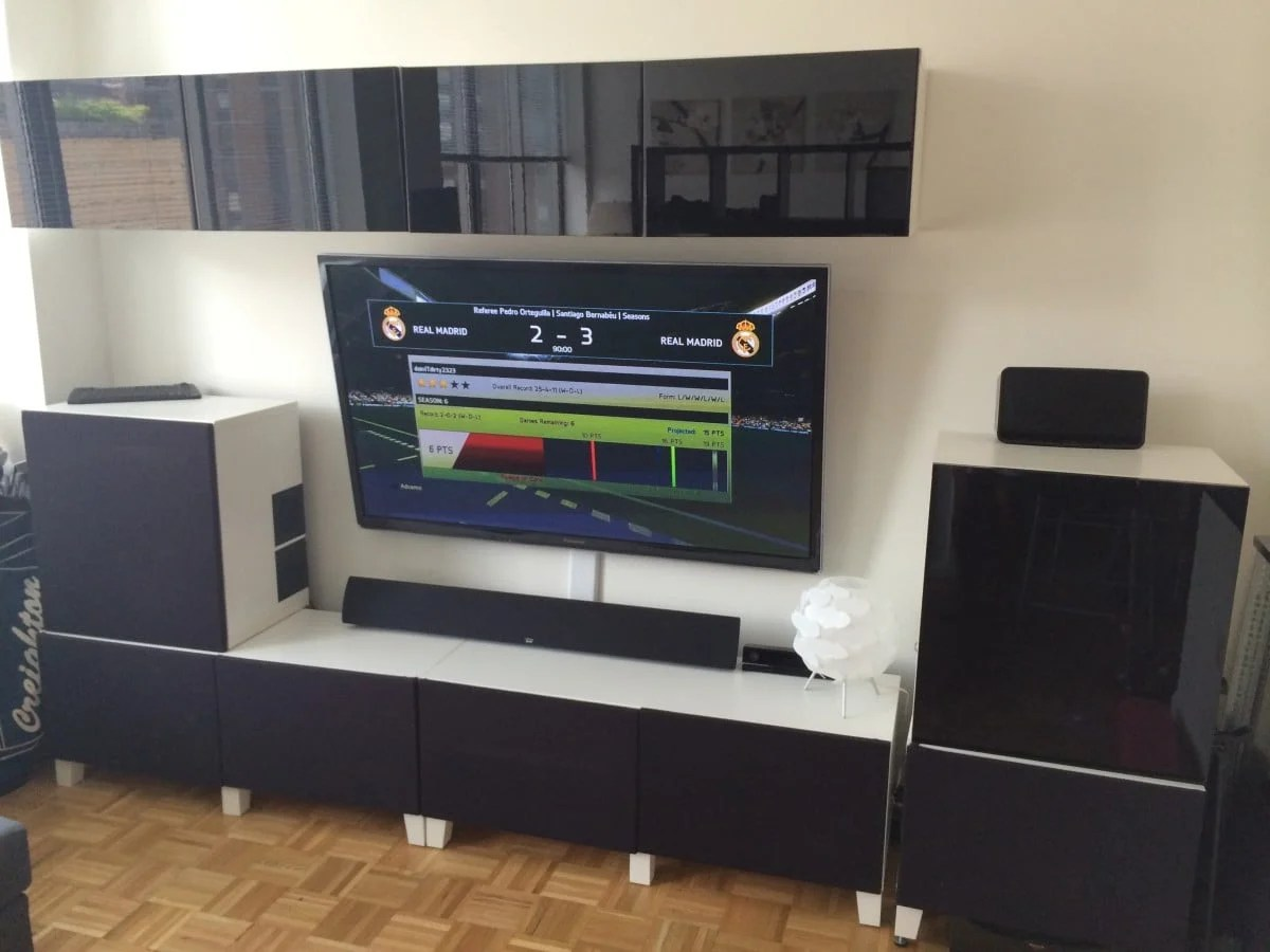 Ikea Craft Room Furniture Home Theater Media Center Besta Hack - Ikea Hackers - Ikea