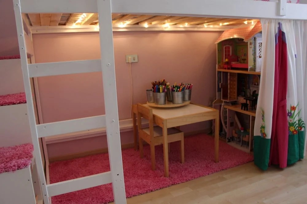 Stuva Loft Bed Mydal Loftbed With Play Area For Girl's Room - Ikea Hackers