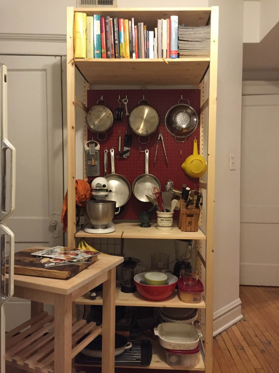 Red Kitchen Island Cart Making My Kitchen Pop With A Pegboard-ivar Unit - Ikea