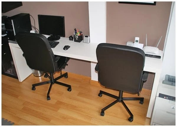 Double Desk Ikea Double Workstation With Malm And Ribba - Ikea Hackers