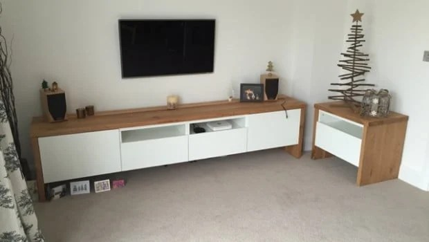 Lowboard Wand BestÅ Tv Unit With Oak Wrap Around - Ikea Hackers - Ikea