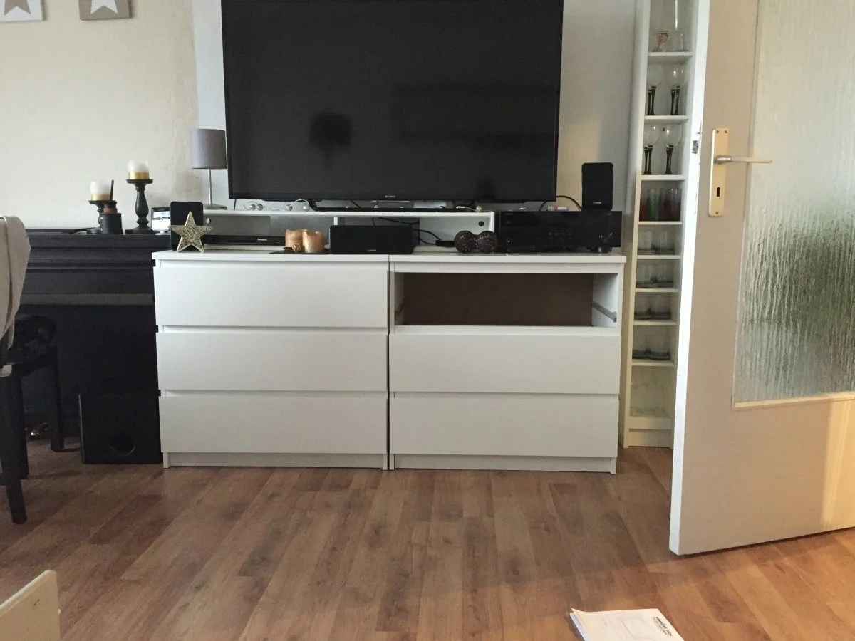 Two Ikea Malm Chests As A Tv Highboard Ikea Hackers