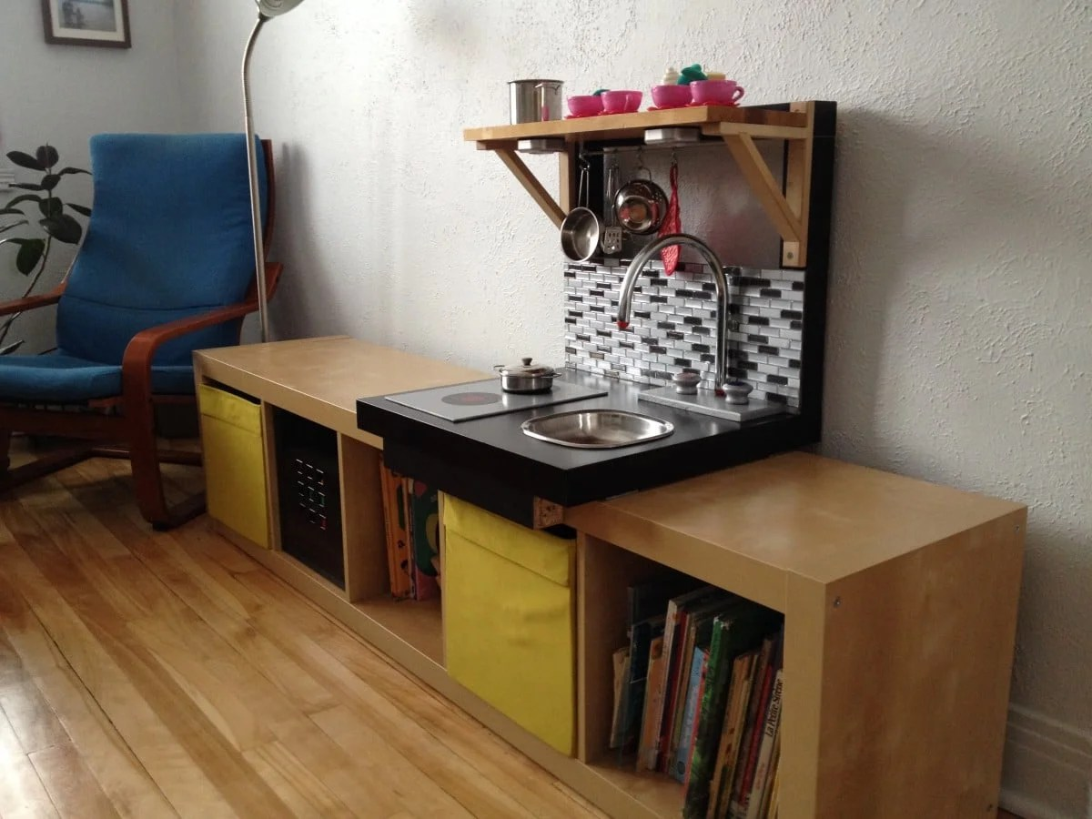 Ikea Red Shelf From Lack To Embeddable Play Kitchen - Ikea Hackers