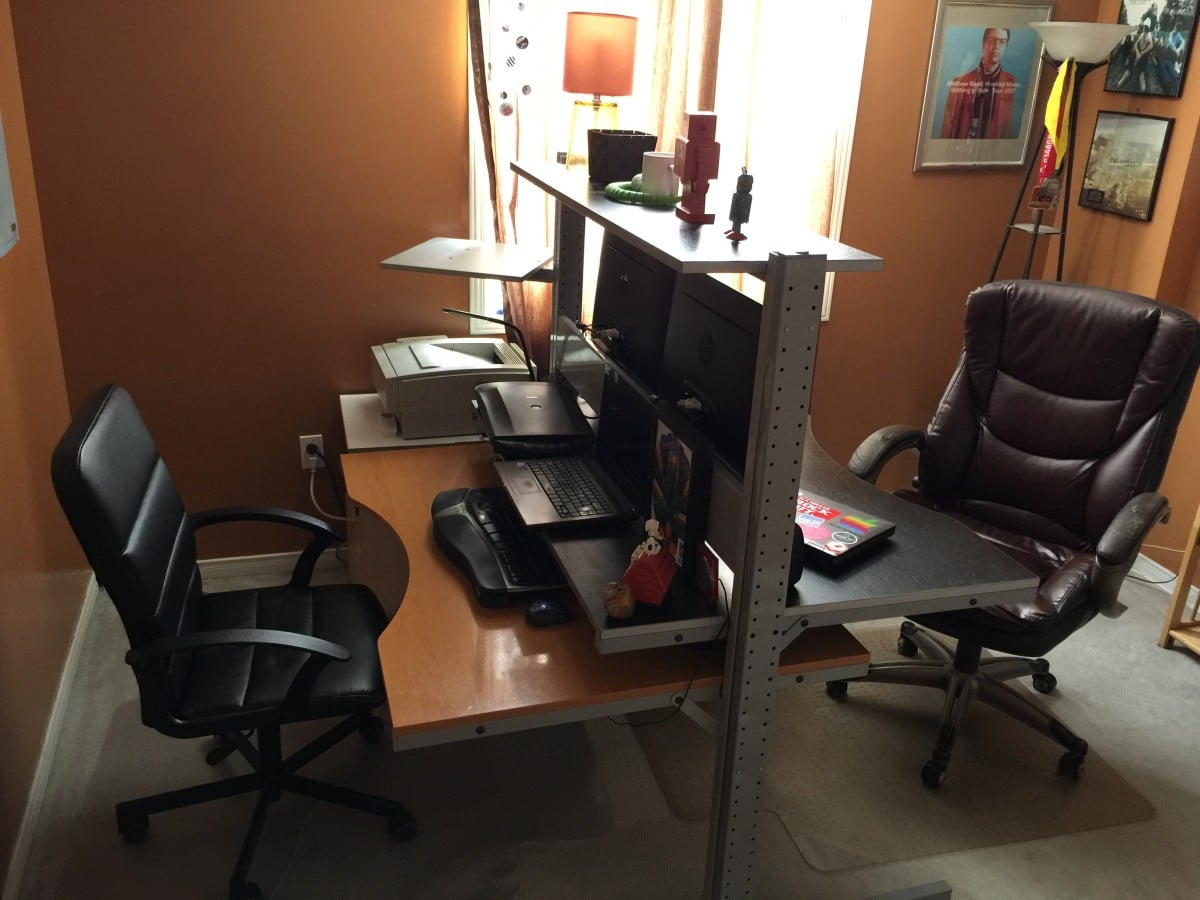Double Home Office Desk Double Sided Jerker Desk Ikea Hackers