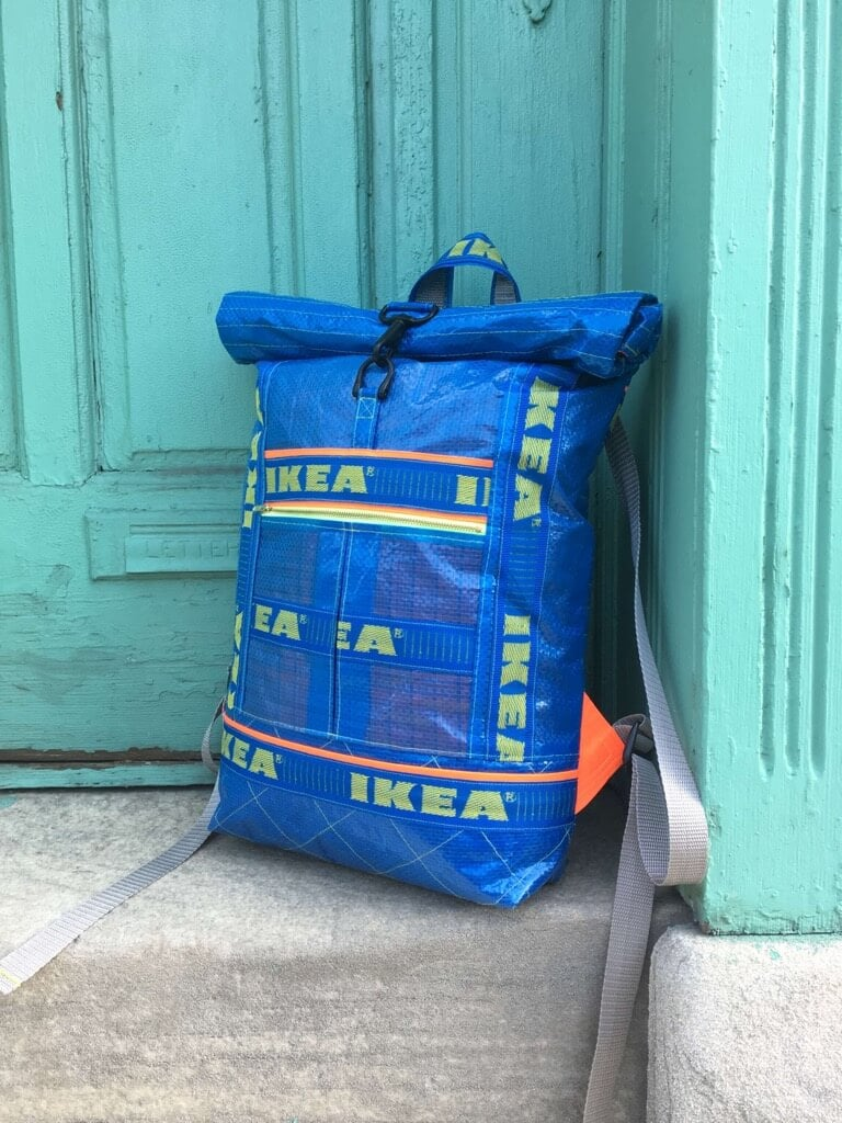 Neon Ikea Sew Good A Roll Top Backpack From Ikea Blue Bags Ikea Hackers