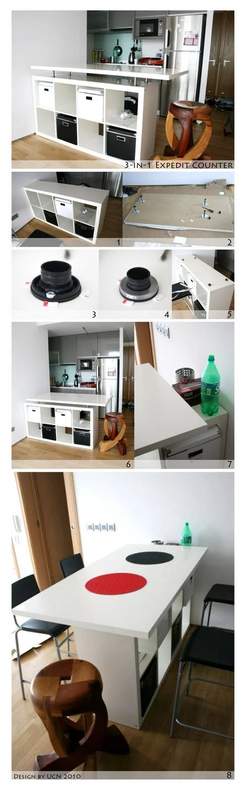 Expedit Kitchen Counter To Fulfill 3 In 1 Functions Ikea Hackers