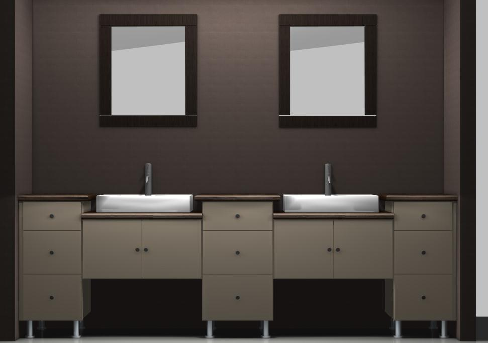 Ikea Vanities Using Wall Cabinets With Different Heights
