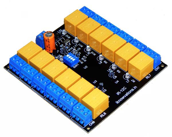 iR-12C 12 channel IR remote control relay board - iknowvations.in
