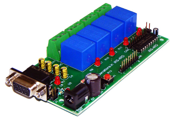 4 channel RS232 relay board - iRS-4RD iknowvations