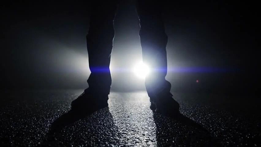 Police Car Lights Wallpaper Mystical Silhouette Of Man Walking Towards Camera In Dark