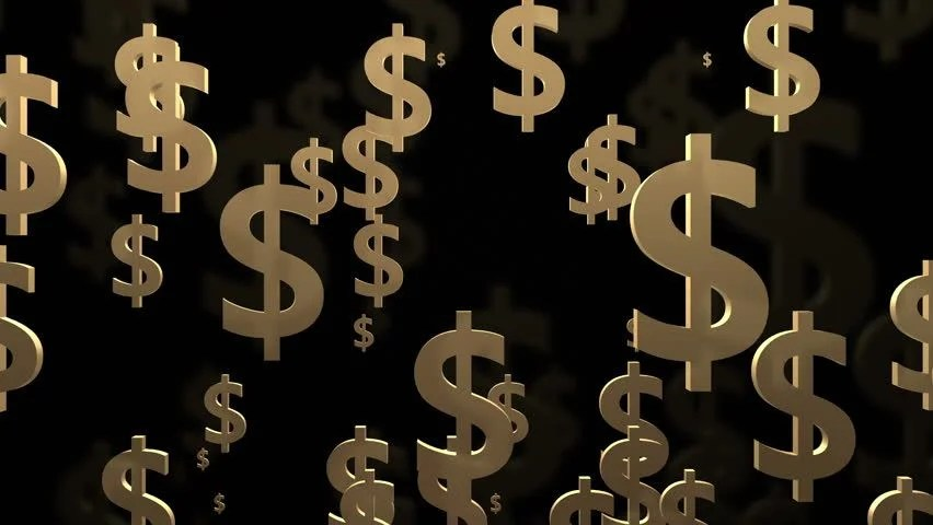Live Wallpaper Money Falling Dollar Signs On Black Background Stock Footage Video
