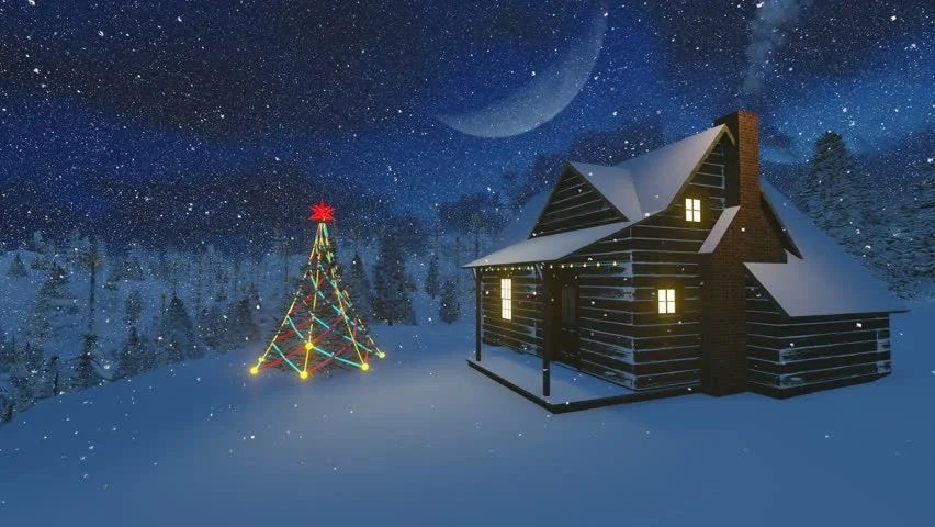 Live 3d Wallpaper Snowing Christmas Night Scenery Christmas Tree And Cabin
