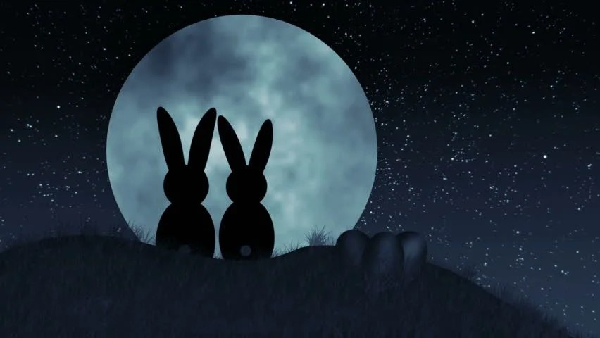 Shiva Animated Wallpaper Hd Bunnies On Hill In Front Of Moon Silhouetted Bunnies In